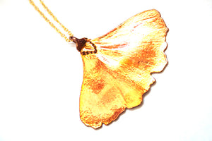 Real Ginkgo leaf iridescent copper pendant necklace