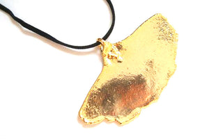 Real Ginkgo leaf gold pendant necklace with black cord
