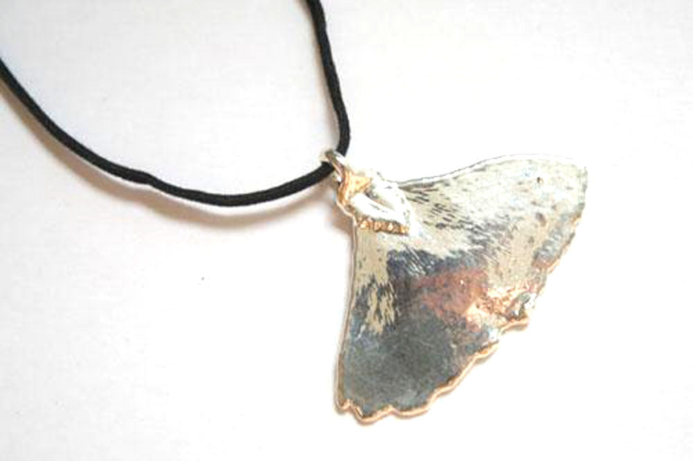 Real Ginkgo leaf silver pendant necklace - Arborvita Real leaf jewellery