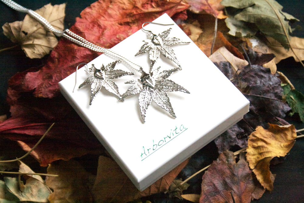 Real Japanese Maple Leaf Silver Jewellery Set - Arborvita Real leaf jewellery