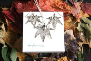 Real Japanese Maple Leaf Silver Jewellery Set