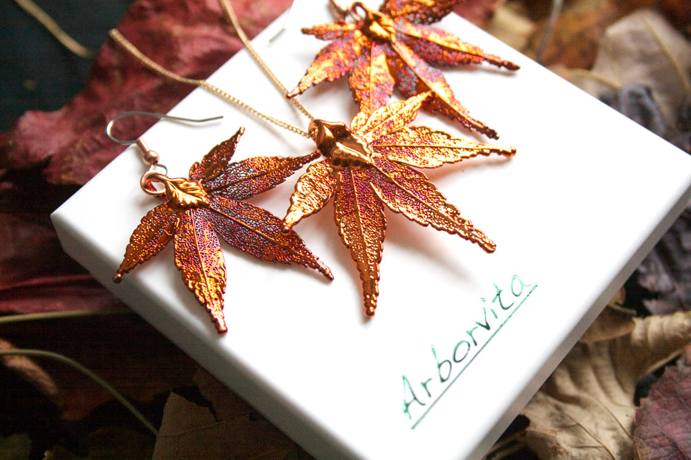 Real Japanese Maple Leaf iridescent Copper Jewellery Set - Arborvita Real leaf jewellery