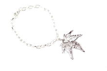 Real Japanese Maple leaf silver bracelet