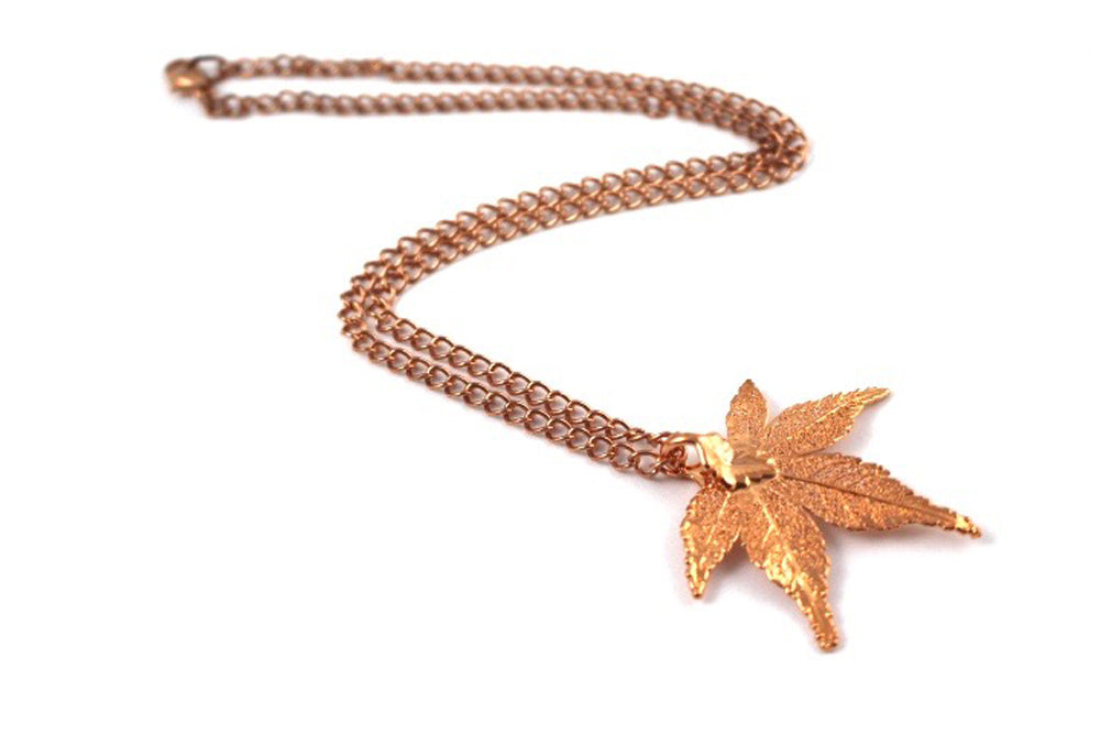Real Japanese Maple leaf Rose Gold pendant necklace - Arborvita Real leaf jewellery