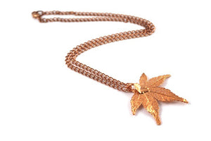 Real Japanese Maple leaf Rose Gold pendant necklace