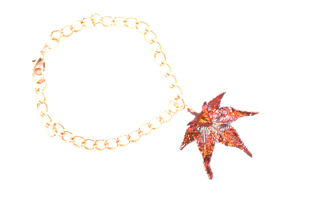 Real Japanese Maple leaf iridescent copper bracelet - Arborvita Real leaf jewellery