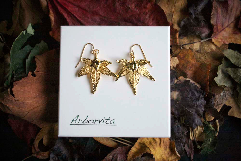 Real Japanese Maple leaf gold earrings - Arborvita Real leaf jewellery