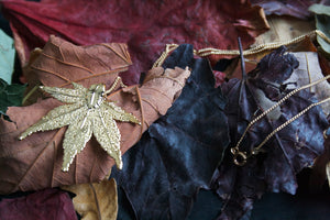Real Japanese Maple leaf gold necklace
