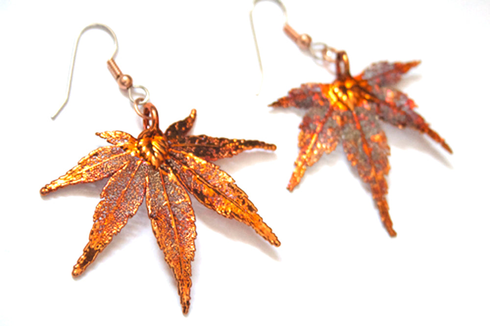 Real Japanese Maple Leaf Iridescent Copper Earrings - Arborvita Real leaf jewellery