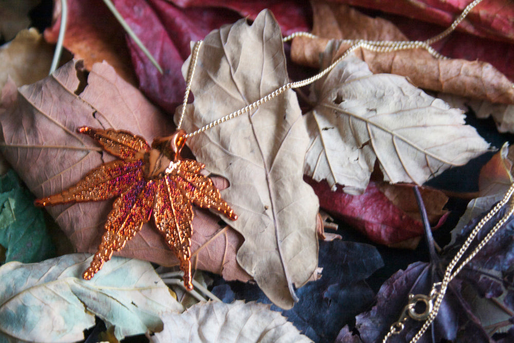 Real Japanese Maple leaf iridescent copper pendant necklace - Arborvita Real leaf jewellery