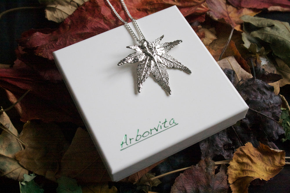 Real Japanese Maple leaf Silver Pendant Necklace - Arborvita Real leaf jewellery