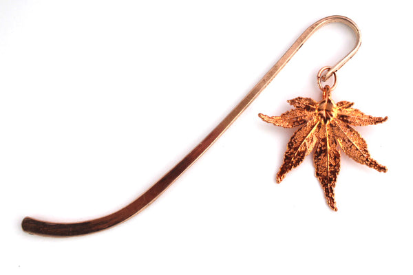 Real Japanese maple leaf rose gold bookmark