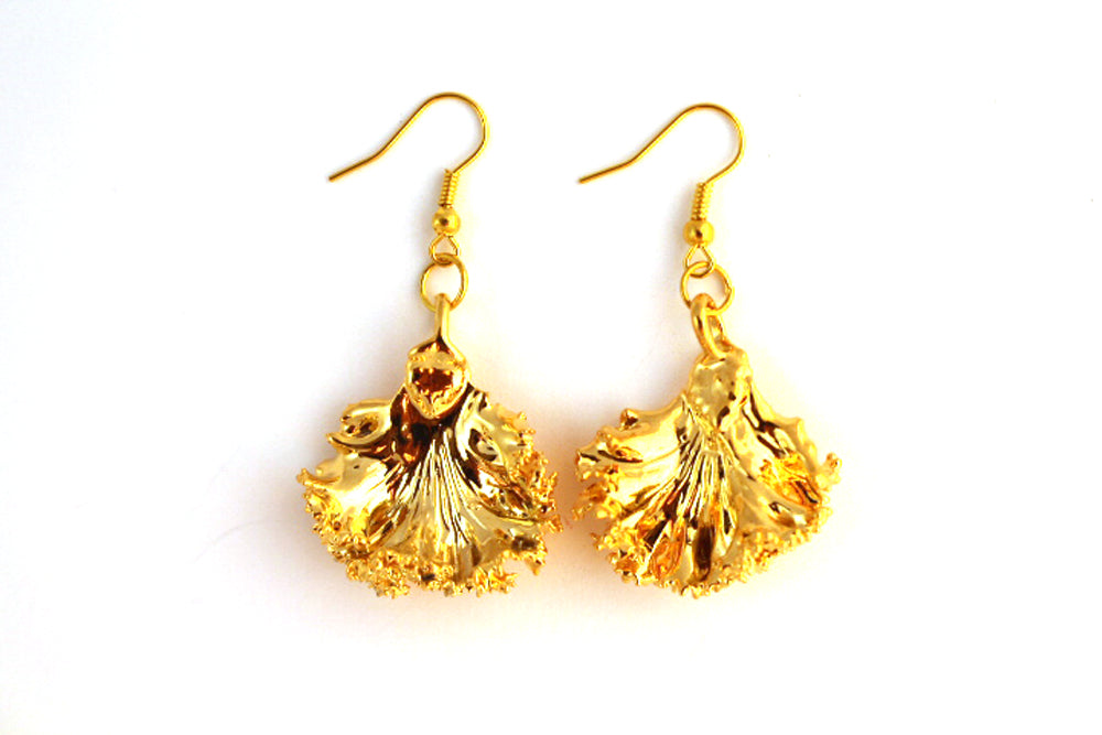 Real Kale leaf gold earrings - Arborvita Real leaf jewellery