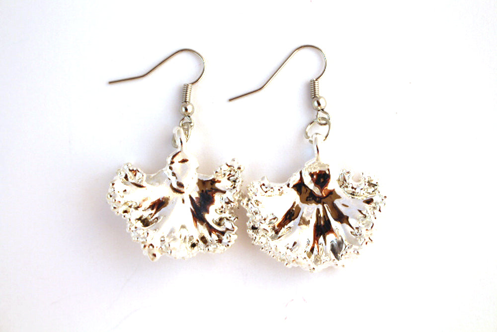 Real Kale leaf silver earrings - Arborvita Real leaf jewellery