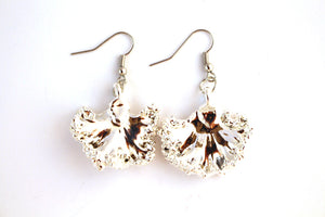Real Kale leaf silver earrings