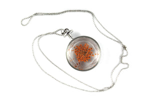 Real Lace Flower orange necklace in silver - Arborvita Real leaf jewellery
