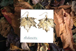 Real Maple leaf gold earrings