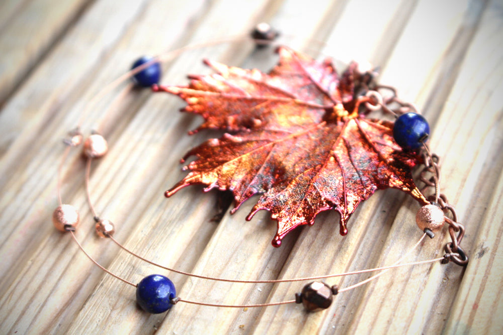 Real Maple leaf iridescent copper necklace with Lapis Lazuli beads. - Arborvita Real leaf jewellery