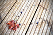 Real Maple leaf iridescent copper necklace with Lapis Lazuli beads.