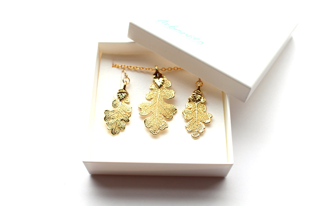 Real Oak leaf gold necklace and earrings set - Arborvita Real leaf jewellery