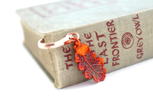 Real Oak leaf iridescent copper bookmark