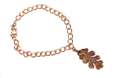 Real Oak leaf iridescent copper bracelet
