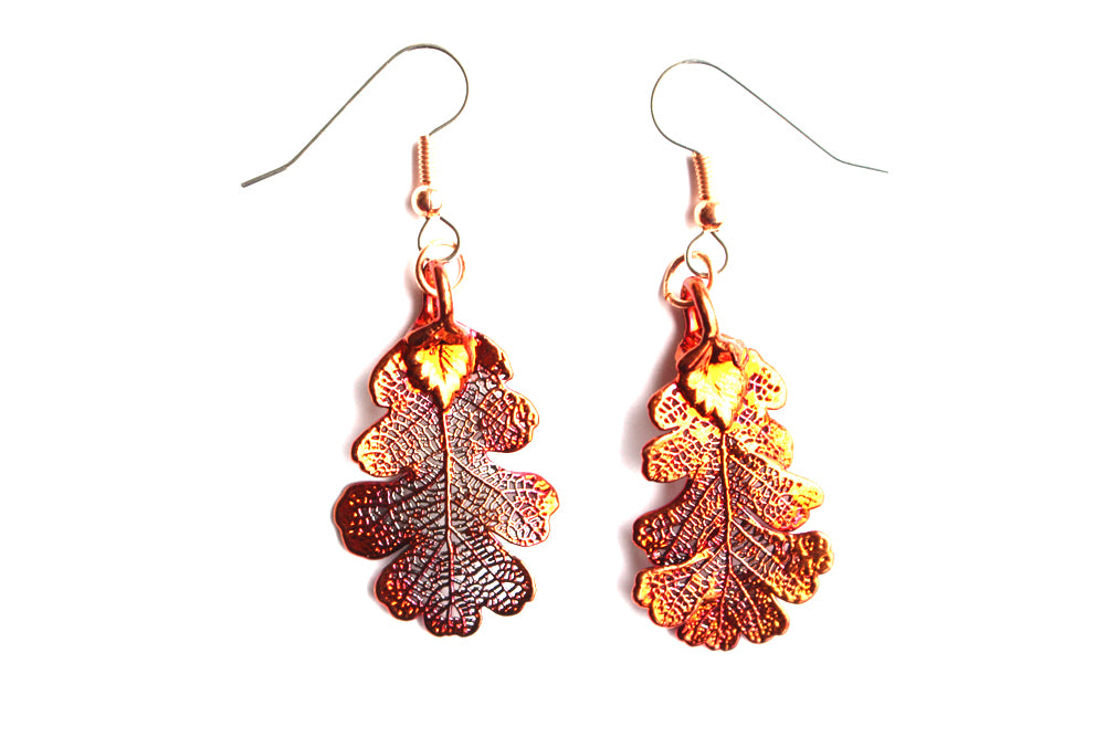 Real Oak leaf iridescent copper earrings - Arborvita Real leaf jewellery