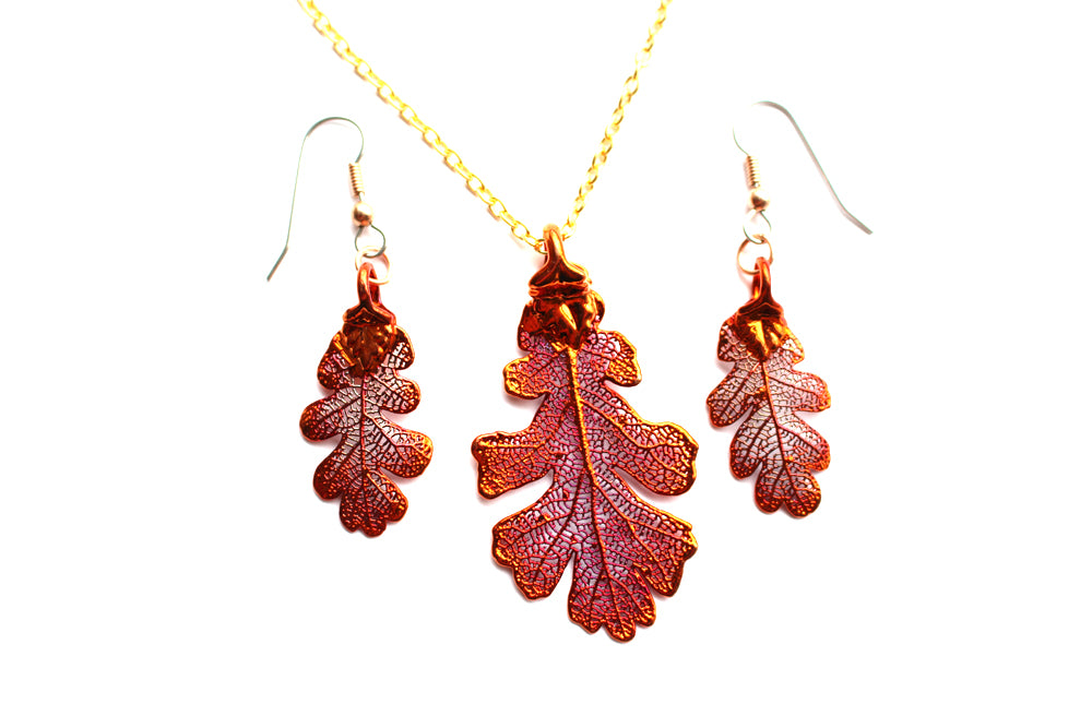 Real Oak leaf iridescent copper necklace and earrings set - Arborvita Real leaf jewellery