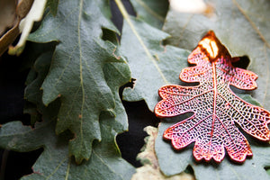 Real Oak leaf iridescent copper pendant necklace