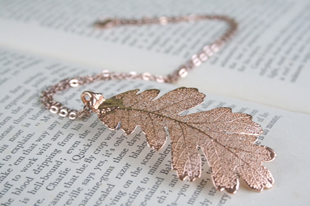 Real Oak leaf rose gold pendant necklace - Arborvita Real leaf jewellery