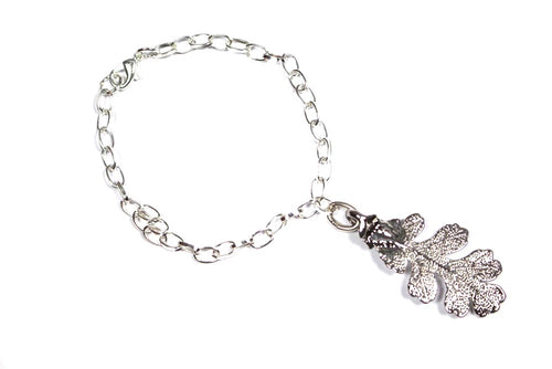 Real Oak leaf silver bracelet