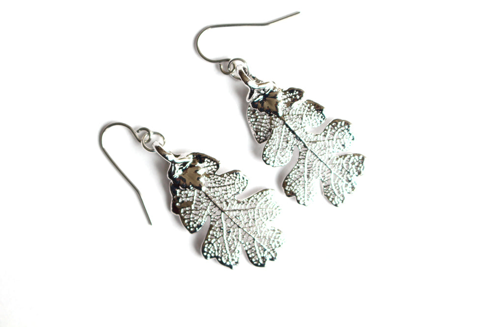 Real Oak leaf silver earrings - Arborvita Real leaf jewellery
