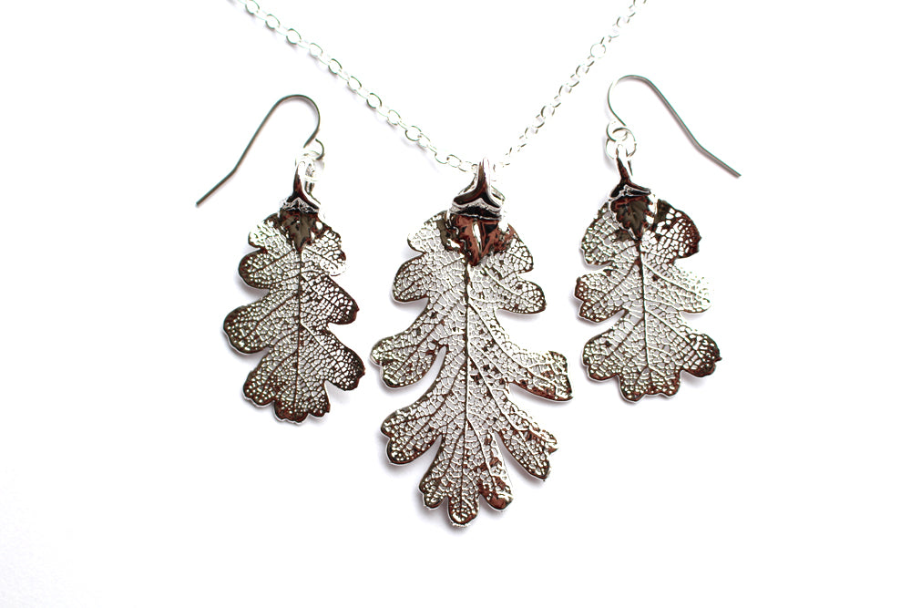 Real Oak leaf silver necklace and earrings set - Arborvita Real leaf jewellery