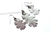 Real Oak leaf silver necklace and earrings jewellery set