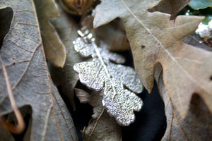 Real Oak leaf silver pendant necklace