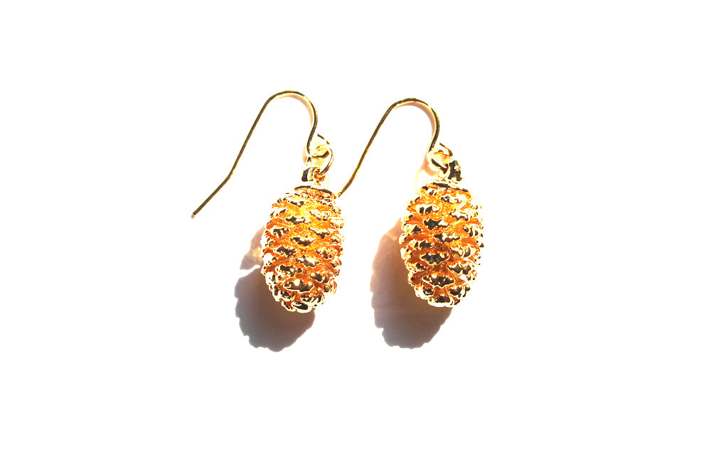 Real Pine cone gold earrings