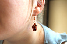 Real Pine cone iridescent copper earrings