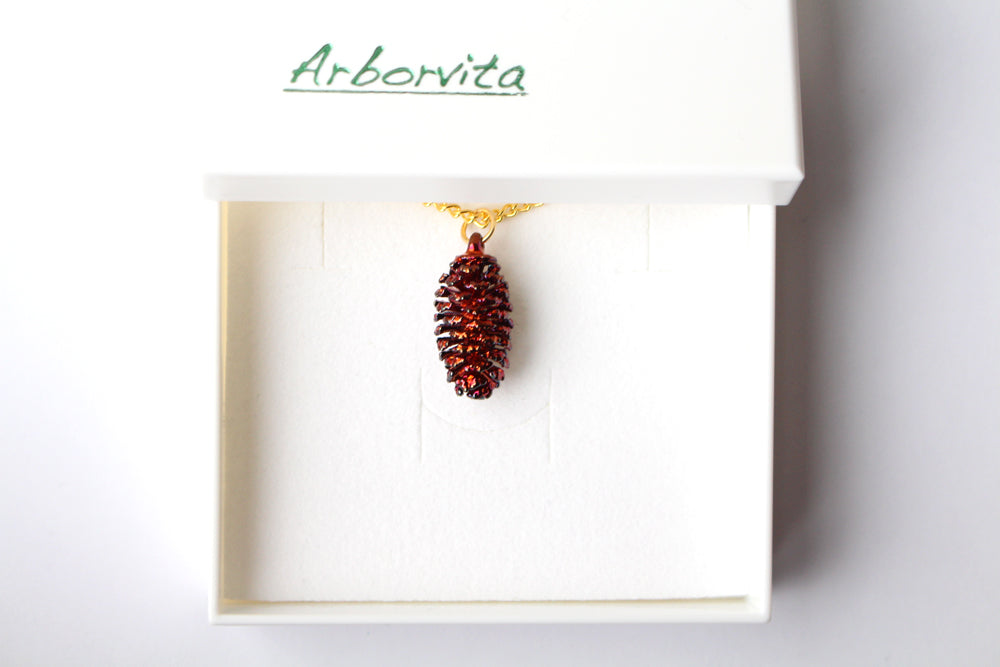 Real Pine cone iridescent copper pendant necklace - Arborvita Real leaf jewellery