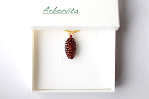 Real Pine cone iridescent copper pendant necklace
