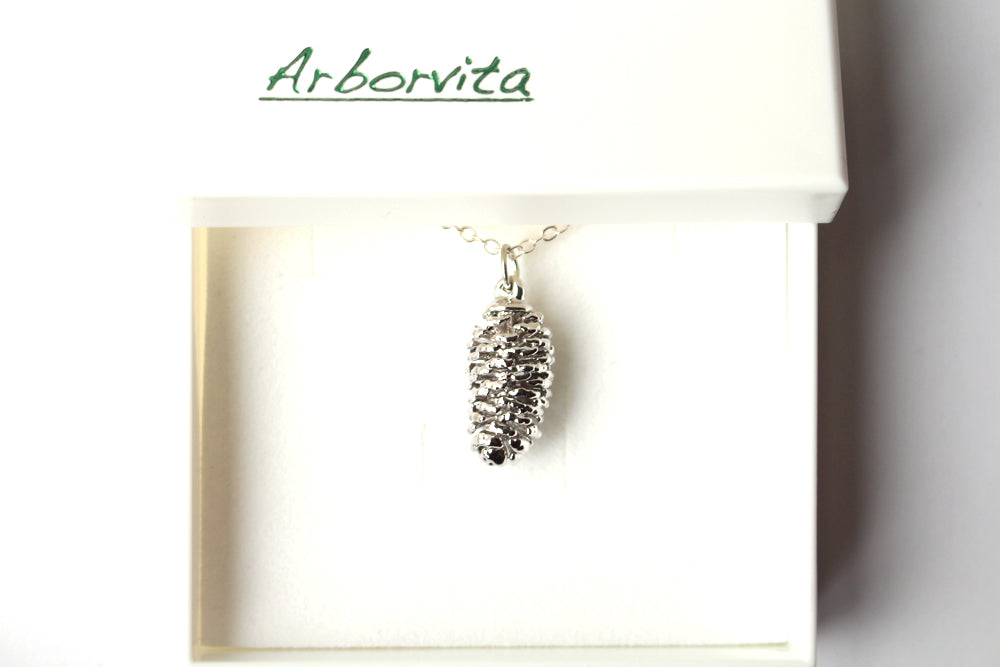 Real Pine cone silver pendant necklace - Arborvita Real leaf jewellery
