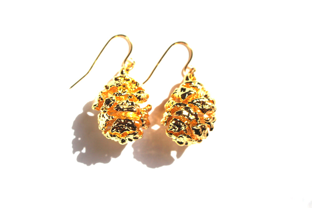 Real Redwood cone gold earrings