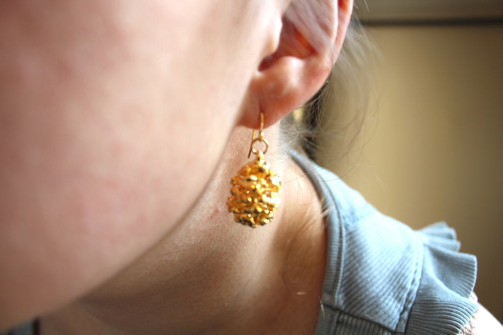 Real Redwood cone gold earrings - Arborvita Real leaf jewellery