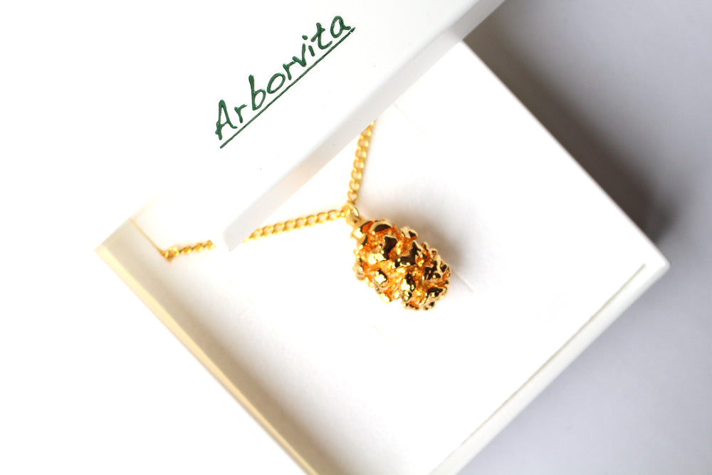 Real Redwood cone gold pendant necklace - Arborvita Real leaf jewellery