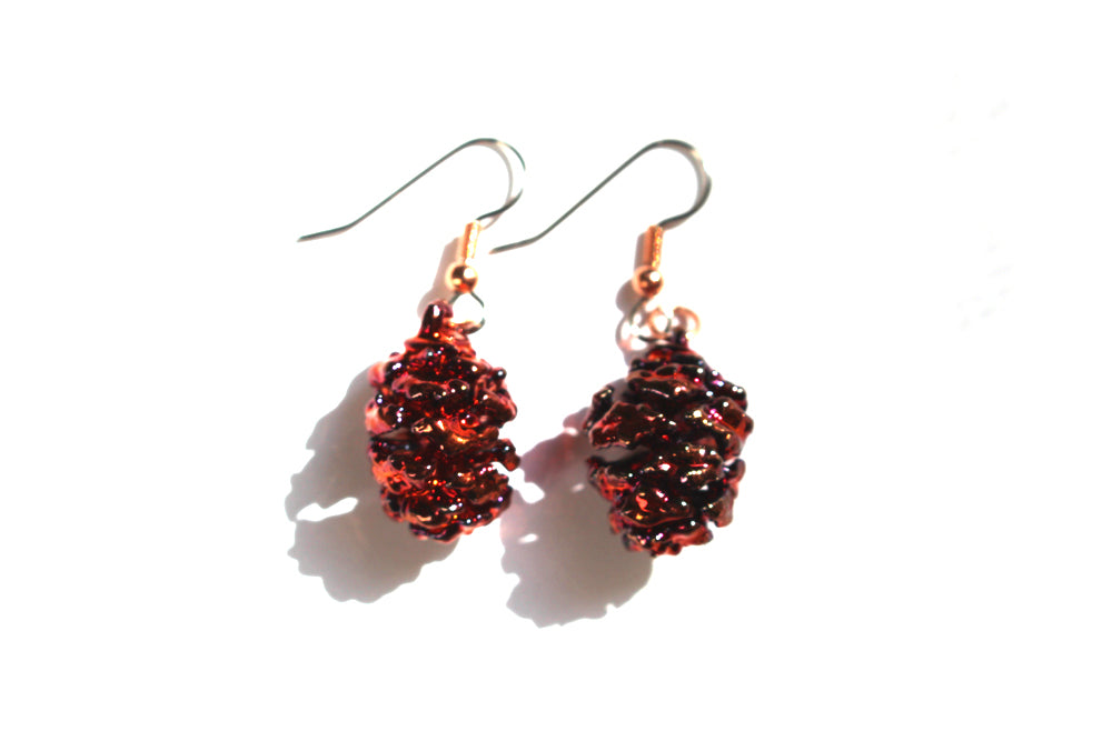 Real Redwood cone iridescent copper earrings - Arborvita Real leaf jewellery
