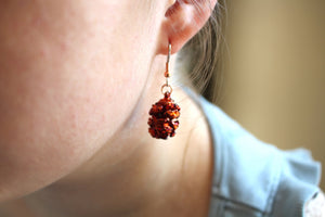 Real Redwood cone iridescent copper earrings