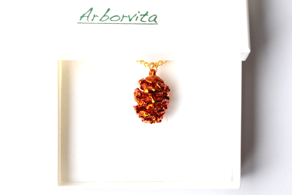 Real Redwood cone iridescent copper pendant necklace - Arborvita Real leaf jewellery