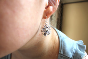 Real Redwood cone silver earrings