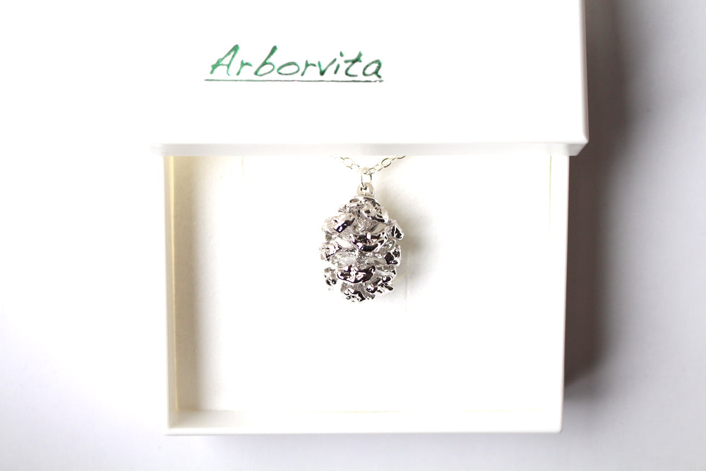 Real Redwood cone silver pendant necklace - Arborvita Real leaf jewellery