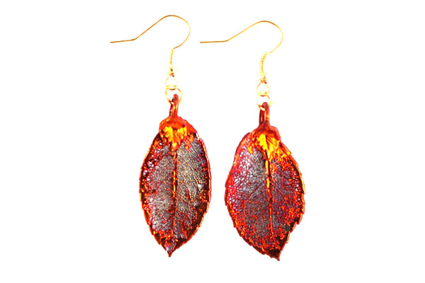 Real Rose leaf iridescent copper earrings