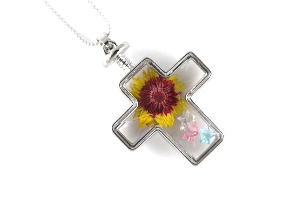 Real Rosy-purple everlasting flower resin necklace silver